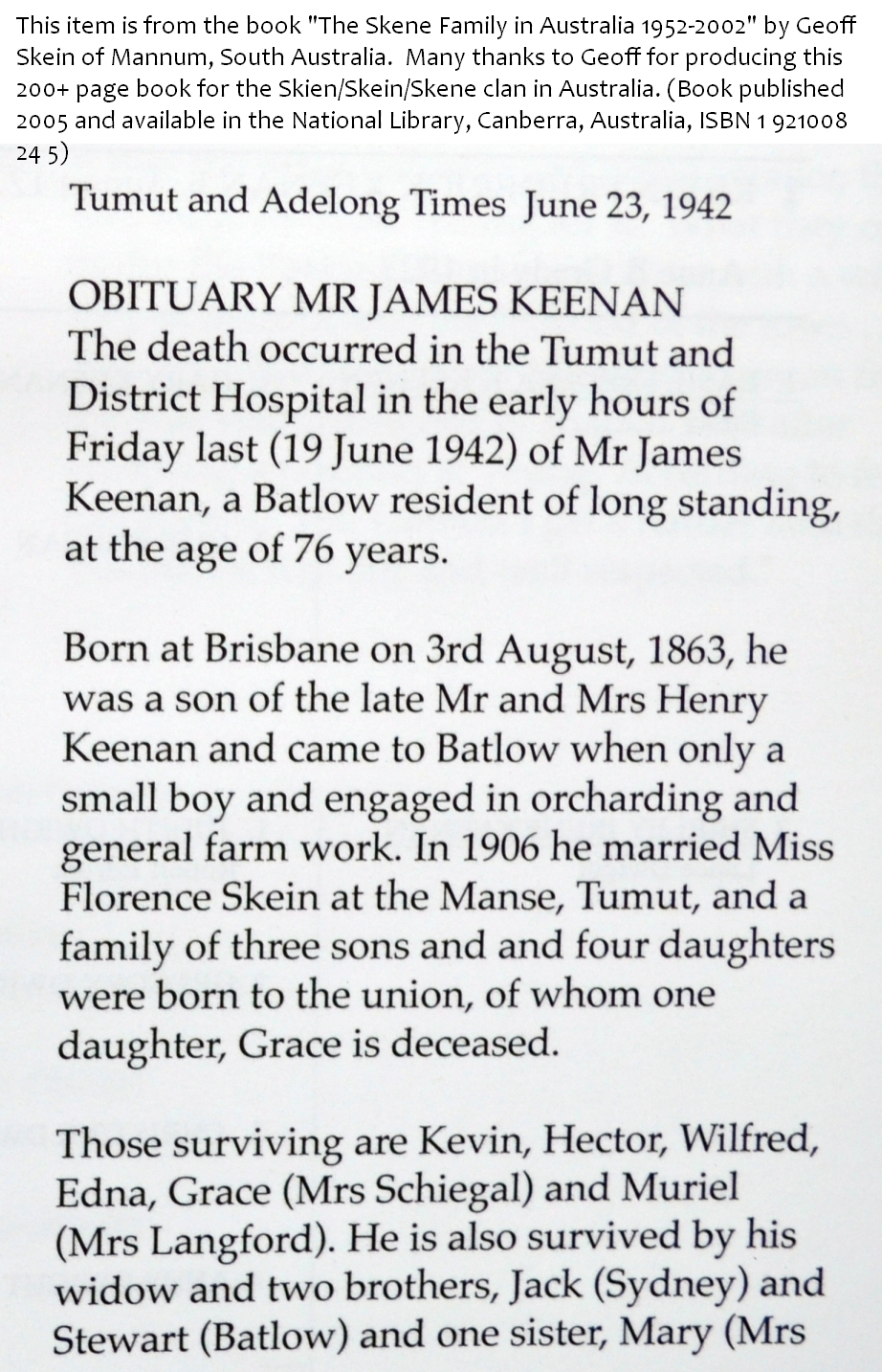 James keenan obituary Part 1
